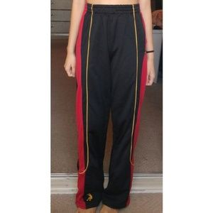 Pants - Black Sweatpants with red and yellow stripes